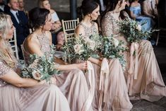 Same-Sex Industrial Wedding with Grooms Maids in Sequin and Tulle Blush Pink Maya Bridesmaid Dresses by Anna Beth Wedding Photography Pink Wedding Decorations, Pink Wedding Colors, Blush Wedding Flowers, Pink Wedding Dresses, Reception Decorations, Blush Sequin Bridesmaid Dress, Pink Groomsmen, Industrial Wedding, Wedding Attire