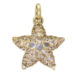 New Pomellato Sirene 18k Gold White Sapphire Moonstone Starfish Pendant