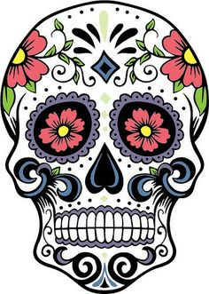 Extra Large Sugar Skull Version 7 Wall Vinyl Decal By DabbleDown Coloring For Big Girls
