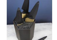 Présentoir avec ses 4 couteaux - Noir et Or - Les Esthètes
