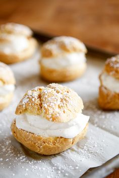 Easy Cream Puff Recipe -- a simple and straightforward method for making homemade cream puffs without any of the fussy piping and hand whisking! Makes 12 monster-sized cream puffs or 24 smaller cream puffs -- perfect for a brunch gathering. Cream Puff Dessert, Cream Puff Filling, Eclairs, Profiteroles, Mini Cream Puffs Recipe, Baking Recipes, Dessert Recipes, Delicious Desserts, Yummy Food