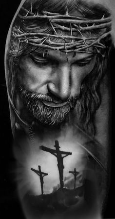 I think we all need to take a minute and Ask the Original Leader of the world for Help. Jesus Tattoo Sleeve, Religious Tattoo Sleeves, Jesus Tatoo, Forearm Sleeve Tattoos, Christus Tattoo, Jesus Tattoo Design, Tattoo Bauch, Jesus Drawings, Heaven Tattoos