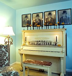 Spooky Music An antique upright piano whispers of hair-raising notes. Frightful photos of what seems to be a long-lost caretaker hangs above.