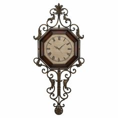 Adalia Wooden and Wrought Iron Wall Clock
