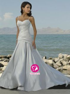 A-Line Spaghetti Straps Beading Sleeveless Court Train Satin Wedding Dress