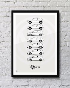 Features all the Volkswagen Golf GTi models; Mk1, Mk2, Mk3, Mk4, Mk5, Mk6, Mk7, R32. A2 420mm x 600mm (23.4 x 16.5) Other sizes available on