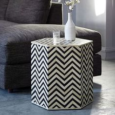 Tables - Our black and white Bone Inlaid Faceted Side Table is carefully inlaid by hand to create its geometric chevron pattern. Use its black-and-white palette as an easy accent or as a handy place to put your magazines or tablet. Modern Home Furniture, New Furniture, Table Furniture, Living Room Furniture, West Elm, Moroccan Side Table, Chevron, Sideboard, Side Tables