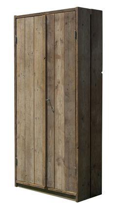 Kast steigerhout Deli Onbehandeld Deze steigerhouten kast is mooi afgewerkt met deuren. De kast op de foto is 100*40*200 cm. We bieden ook bredere en diepere maten aan. Vanaf een breedte van 120 cm wordt de kast in drie deuren geleverd. De kast is zeer geschikt voor uw tuin of terras. De kast wordt ook voor binnen gebruikt.