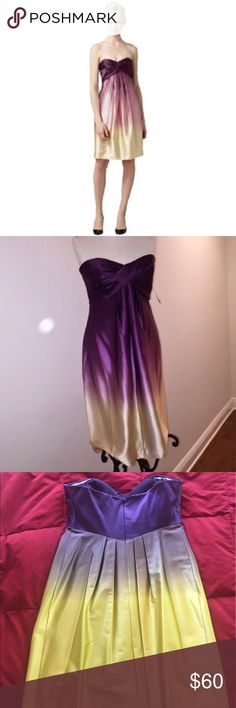 Nicole Miller Ombré Satin Cocktail Dress Silky satin strapless cocktail dress with twisted bust detail from Nicole Miller moves from rich purple to a vibrant yellow/gold. It's fun and flirty for dancing and a great shape for any figure. Nicole Miller Dresses Strapless