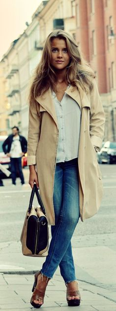 Molly Rustas is wearing jeans from Acne, bag from River Island, top from H&M and the coat is from Madlady