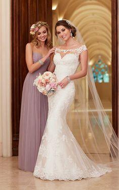 stella york illusion neckline mermaid lace wedding dresses 2016 6118