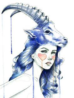 """Capricorn"" Art Print by Mia Desu   Society6"