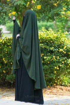 Forest Green Khimar with Abaya and Niqab and xijaabka Hijab Niqab, Muslim Hijab, Mode Abaya, Mode Hijab, Casual Hijab Outfit, Hijab Dress, Beautiful Muslim Women, Beautiful Hijab, Niqab Fashion