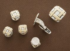 """Sterling Silver and 14kt Gold Cufflinks (3/4"""") Sterling Silver and 14kt Gold Studs (3/8"""")"""