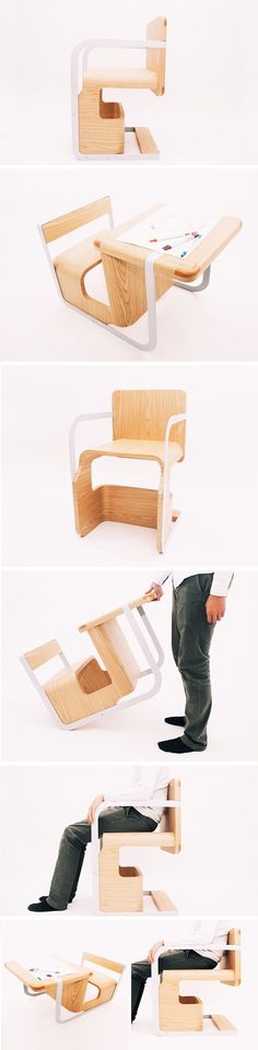 The Wonder Chair by Lee Wen De is a perfect example of a design that takes into account the changing needs of the user to extend its usability. All you have to do is flip it! By setting the orientation in one direction, it can be used as a kid's chair for eating or a child's desk for drawing or writing. Flip it over, however, and it becomes a full-size chair for any adolescent or adult. With a simple turn, it can actually grow up with you!