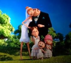 Meet the Gru Family. This is from Despicable Me Gru gets married. Hearing that some are bothered by the wedding of Gru and Lucy. Why does that upset people? Mazel Tov and Many Years! Minions Love, Minions Despicable Me, Funny Minion, Gru And Lucy, Funny Images, Funny Pictures, Funny Pics, Funny Jokes, Cartoons