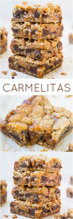 Carmelitas - Easy one-bowl, no-mixer recipe! Like a soft oatmeal chocolate chip cookie, with rich, creamy, buttery caramel and a streusel-crumble topping baked right in! Yum!