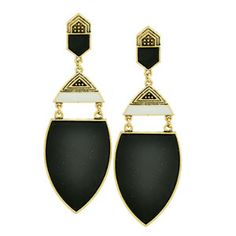 Antiqued style dangle drop earrings feature etched detailing with inlaid black and white resin. Approx 3.8