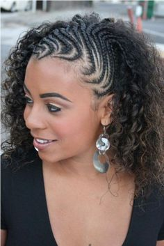 "Half cornrows to twist out. That is so cool, Hair Care Tips, "" Half cornrows to twist out. That is so cool Source by brooklynken. Side Braid Hairstyles, Braided Hairstyles For Black Women, Braids For Black Hair, My Hairstyle, African Hairstyles, Afro Hairstyles, Black Hairstyles, Gorgeous Hairstyles, Hairstyles 2016"