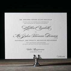 The classic Deveril letterpress wedding invitations from Bella Figura are elegant and timeless wedding invitations - perfect for any formal affair.
