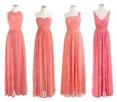 Coral Floor Length Bridesmaid Dress, A-line Chiffon Bridesmaid Dress on Etsy, $109.00