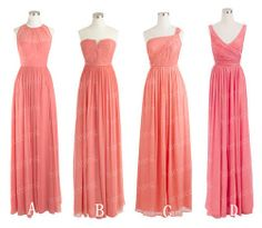 Coral Floor Length Bridesmaid Dress Aline Chiffon by harsuccthing