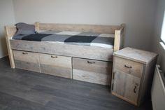 Javi stoer bed mét grote bakken Tienerbed. Bed met veel opbergruimte. Keuze uit diverse kleuren!
