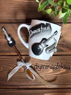 under the order Polymer Clay Crafts, Handmade Polymer Clay, Clay Art Projects, Guitar Gifts, Customised Mugs, Gift Card Boxes, Musician Gifts, Clay Mugs, Personalized Mugs