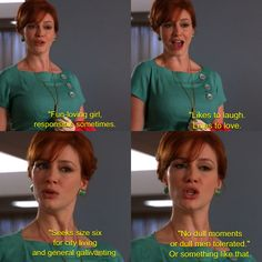 Mad Men, Joan Holloway Joan Mad Men, Mad Women, Old Hollywood Stars, Old Hollywood Glamour, Mad Men Quotes, Fun Quotes, Mad Men Joan Holloway, Hospital Games, Joan Harris