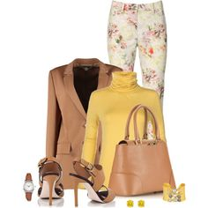 Office outfit: Yellow - Light Brown - Floral by downtownblues on Polyvore