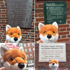 One of #AdmissionsVixen Rose's favorite past times is stealing the nearest phone to take selfies with historical markers! Here she poses with signs for Old North Church, Faneuil Hall, Boston's North End and the Old State House and Boston Massacre site. #boston #selfie #rosetakesoverboston