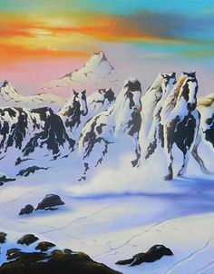 Drawing In Horses in the Snow by Jim Warren - Fine art by master artist Jim Warren. High-quality prints are available in several sizes. Optical Illusion Paintings, Optical Illusions Pictures, Illusion Pictures, Art Optical, Hidden Images, Illusion Art, Native American Art, Surreal Art, Art World