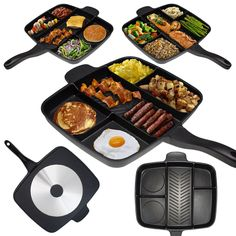 Why use 5 pans to make a great meal when you only need one? Cook up to five different foods all at once on one burner with the Master Pan!  Prepare a complete breakfast, big burger meal, full fajitas, or a healthy salmon dinner with veggies. The possible food combinations are endless! Plus, when you're finished you'll have just one pan to clean.  Cook faster, clean less, and still enjoy great meals!  - Multi-sectional design - Cook 5 foods at once! - 100% Die cast aluminum, energy efficient…