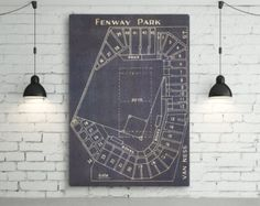 Vintage Boston Red Sox Fenway Park Blueprint on Photo Paper, Matte paper or Canvas Sports Stadium Tickets Art Home Decor Giclee RedSox
