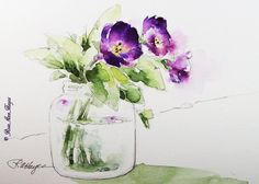 Purple Flowers in Baby Food Jar by RoseAnn Hayes, Print available in Etsy shop