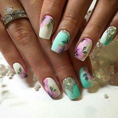 Acrylic Nail Designs, Nail Art Designs, Acrylic Nails, Spring Nails, Summer Nails, Nail Ink, One Stroke Nails, Flower Nail Art, Elegant Nails