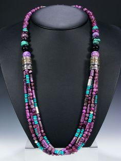 Tommy Singer Navajo Jewelry Necklaces and Pendants - turquoise, purple, multi strand