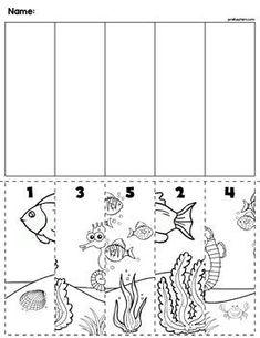 $1 | Under the Sea scene cut and order for numbers 1-5. Package includes five no prep worksheets. #preschool #preschoolers #preschoolactivities #kindergarten #Homeschooling #mathcenters #ocean
