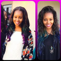 Blue to purple Ombre Hair. Black Girls wearing color. Dark brown to Aqua Blue to Violet Purple Ombre.