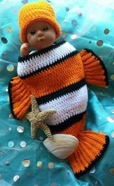Newborn Crochet Outfit Nemo Outfit Newborn Halloween Costume Baby Halloween Costume Nemo Baby Shower Baby Shower Gift Crochet Baby Hat Fish Swaddler By Atthelilypond On Etsy Newborn Halloween Costumes, Baby Halloween Costumes For Boys, Baby Costumes, Crochet Baby Halloween, Crochet Baby Cocoon, Newborn Crochet, Crochet Baby Hats, Crochet Gifts, Crochet Beanie