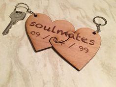 Custom soulmates keychain set, keyrings for an anniversary Valentines or wedding, love heart jigsaw keyring