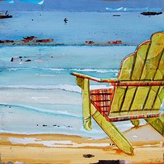 """Sometimes It's Good to be Shallow - Danny Phillips art print, UNFRAMED, Beach chair sailing coastal ocean adirondack nautical art wall & home decor poster, ALL SIZES. This is a reproduction fine art print of a Danny Phillips' original mixed media painting. This poster comes UNFRAMED and is the perfect gift for the boat and sailing lover. This print comes square with flush edges or in standard sizes with 1/2"""" side white border backgrounds.**See pictures for examples**.This gift is an ideal..."""
