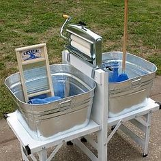 Made in the USA Modern wringer washer. Washtub stand easily assembled for use, quickly comes apart for storage. Wringer is strong and adjustable. Packs small for storage. Auto Camping, Camping Survival, Survival Prepping, Survival Skills, Doomsday Prepping, Survival Supplies, Survival Equipment, Wilderness Survival, Survival Gear