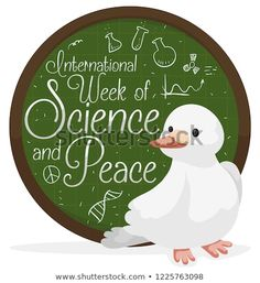 Cute dove and button like rounded chalkboard with some scientific doodles to celebrate International Week of Science and Peace. Chalkboard, Decorative Plates, Royalty Free Stock Photos, Doodles, Science, Peace, Button, Illustration, Cute