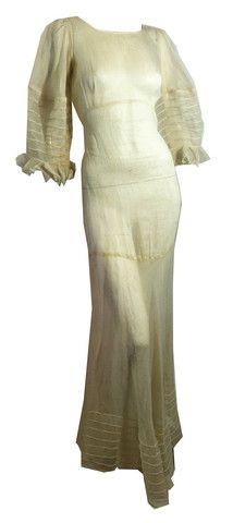 Deco Seamed Sheer Ivory Organza Wedding Gown circa 1930s - Dorothea's Closet Vintage