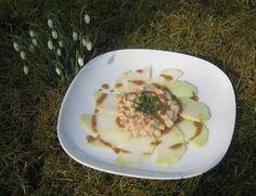Kohlrabi-Carpaccio mit winterlich-gemüsigem Dressing - Carpaccio of German turnip with a hibernal dressing
