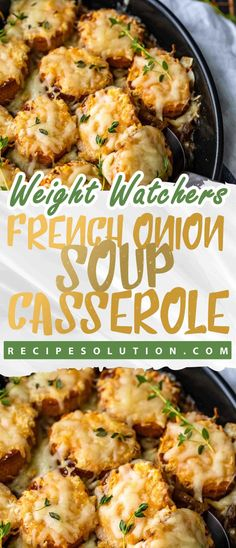 French Onion Soup Casserole A casserole version of traditional French Onion Soup, this dish is a real winner. Each serving is very big, and you get all the delicious flavors that are expected. A perfect, low calorie recipe to warm Skinny Recipes, Ww Recipes, Low Calorie Recipes, Healthy Recipes, Healthy Soups, Healthy Appetizers, Recipies, Casserole Dishes, Casserole Recipes