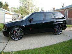 Rims for 2006 Envoy Denali Chevy Trailblazer Ss, Black Light Led, Gmc Envoy Denali, Gmc Suv, White Rims, Chevy Girl, Luxury Suv, First Car, 22 Rims