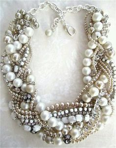 Chunky Pearl Rhinestone Necklace Made To Order White Bridal Statement Champagne Pearls Wedding Jewelry Vintage Milk Glass Tom Binns Inspired Jewelry Accessories, Fashion Accessories, Fashion Jewelry, Jewelry Ideas, Jewelry Trends, Jewelry Supplies, Fashion Necklace, Bling Bling, Jewelery