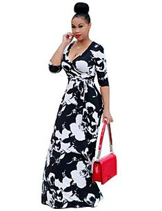 2019 Boho Sexy V Neck Women Robe Dress Half Sleeve Floral Print Long Tunic Dress Femme Loose Beach Maxi Dress Vestidos Plus Size Boho Floral Maxi Dress, Robes Vintage, Manga 3 4, Beautiful Black Dresses, Beautiful Ladies, Half Sleeve Dresses, Long Dresses, Casual Dresses, Maxi Robes